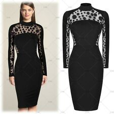 Womens Vintage Lace Polka Dot Bodycon Evening Cocktail Bodycon Party Dresses