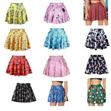 Fashion Women High Waist 3D Print Floral Skater Flared Dress Short Skirt 12 mode