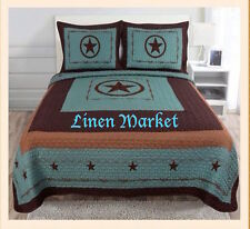 Turquoise Texas Star 3 Piece Quilt