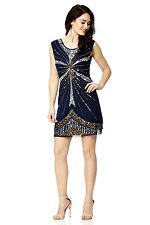 BNWT Gatsby BLUE Dress Tunic Top Evening 1920's Shift Dress Size 8 10 12 14
