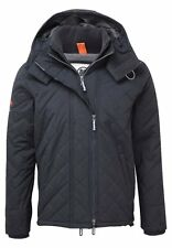 Superdry Mens Quilted Polar Zip Hooded Winter Windcheater Black/Grey (#8977)