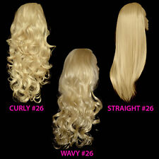 Ladies 3/4 WIG Half Fall Clip In Hair Piece Golden Blonde #26 Sexy Style