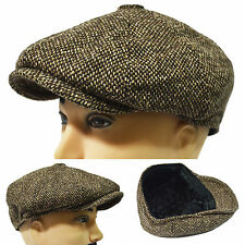 New Winter Newsboy Applejack Driving Casual Cap Golf 8 Panel Hat Brown Tweed NWT