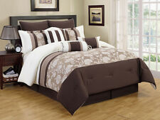 9 Piece Ariana Taupe and Coffee Comforter Set