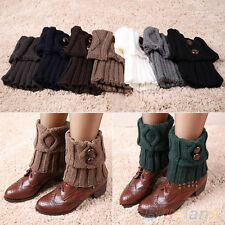 Women Chic Winter Leg Warmers Socks Button Crochet Knit Boot Socks Toppers Cuffs