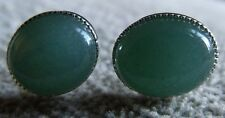 STERLING SILVER, SILVER OR GOLD PLATED AVENTURINE EARRINGS EARSTUD 10mm x 8mm