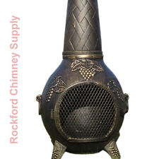 Wood Burning Chiminea Grape Design Outdoor Fireplace Cast Aluminum