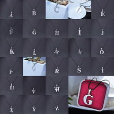 Stainless Steel Leather Necklace Pendant Lover Letter Initial Alphabet
