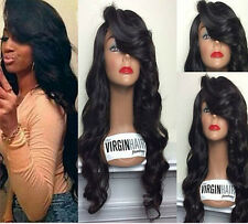 Brazilian100 human remy Hair  Full lace /lace front wigs 1B Off black curly wave