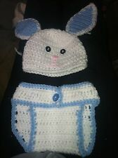 Crocheted bunny hat and diaper cover set for baby