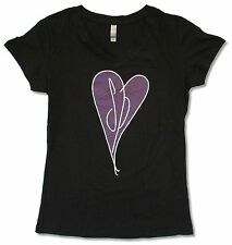 SMASHING PUMPKINS PURPLE HEART JUNIORS GIRLS BLACK V-NECK BABY DOLL T-SHIRT NEW