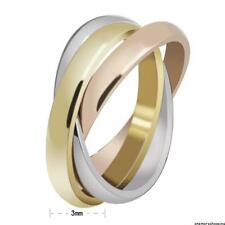 Mens Womens Tri-colored Engagement Wedding Ring Silver&Gold Stainless Steel Ring