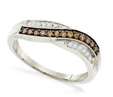 Charming! 10K White Gold Chocolate Brown & White Diamond Twist Ring Band .25ct