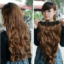Women Lady Clip in Synthetic Human Hair Extensions Long Wavy Curly Hair 5 Clips