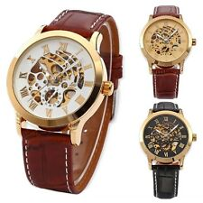 Men Luxury Automatic Mechanical Skeleton Wrist Watch Stainless Steel Leather Hot