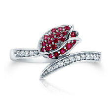 BERRICLE Sterling Silver 0.35 ct.tw Simulated Ruby CZ Wrap Fashion Ring
