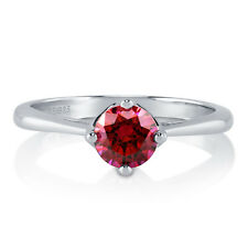 BERRICLE 925 Silver 0.84 Carat Red Swarovski Zirconia Solitaire Engagement Ring