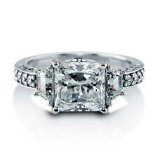 BERRICLE Sterling Silver Princess Cut CZ 3-Stone Engagement Ring 3.92 Carat
