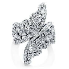 BERRICLE Sterling Silver CZ Wrap Art Deco Fashion Right Hand Cocktail Ring