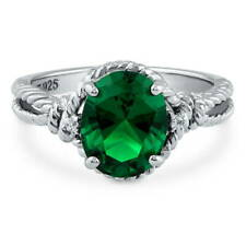 BERRICLE Silver Oval Simulated Emerald CZ Solitaire Engagement Ring 2.56 Carat