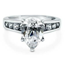 BERRICLE 925 Silver Pear Cubic Zirconia CZ Solitaire Engagement Ring 3.2 Carat