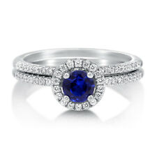 BERRICLE 925 Silver Simulated Sapphire CZ Halo Engagement Ring Set 0.735 Carat