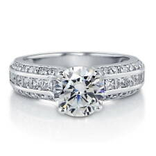 BERRICLE Sterling Silver Round Cut CZ Solitaire Engagement Ring 3.24 Carat