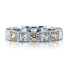 BERRICLE Sterling Silver Round Champagne CZ Art Deco Wedding Eternity Band Ring