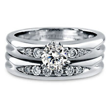 BERRICLE Sterling Silver Round CZ Solitaire Engagement Ring Set 0.7 Carat