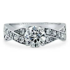 BERRICLE Sterling Silver Round Cut CZ Solitaire Woven Engagement Ring 1.56 Carat