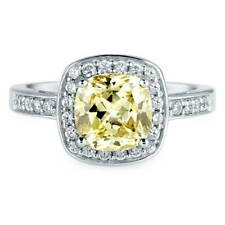 BERRICLE Sterling Silver Cushion Canary Yellow CZ Halo Engagement Wedding Ring