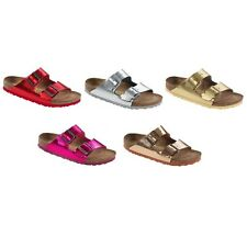 Birkenstock Arizona Sandals - Natural Leather - Metallic Look - Red Silver Gold