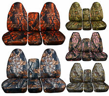 Front +Rear 1994-2002 Dodge Ram 40/20/40 Camouflage Seat Covers Solid Rear Bench