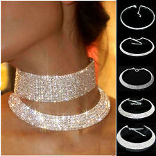 CRYSTAL RHINESTONE COLLAR CHOKER NECKLACE WEDDING BIRTHDAY JEWELRY SILVER