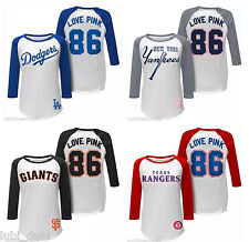 1x NWT Victoria Secret Yankees Dodgers Rangers Giants Henley Baseball Tee