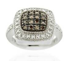 Nice Look 100%! .925 Silver Chocolate Brown Diamond Square Cluster Ring - .17ct
