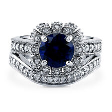 Silver Simulated Sapphire CZ Art Deco Crown Halo Engagement Ring Set 2.7 CT