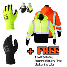 High Visibility RK Hooded Full Zip Sweatshirt Class 3 Safety Hoodie + FREE GLOVE