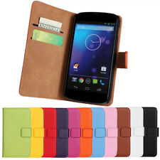 Magnetic Leather Wallet Stand Flip Cover Case Holder For LG Nexus 4 E960 No.1