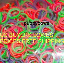 Puppy Bows ~Dog grooming latex neon  elastic rubber topknot bands~US SELLER
