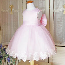 Baby Girls Kids Princess Wedding Evening Party Lace Bow Gown Fancy Dresses 2-7Y