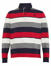 M&S Mens Blue Harbour Rugby Top Polo Shirt Red Mix Stripe BNWT Size Large XLarge