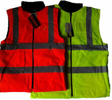 HI-VIS HIGH VISIBILITY REVERSIBLE FLEECE BODY WARMER WORK JACKET S-5XL YELLOW