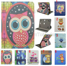 """For Samsung 7"""" 8"""" 10.1"""" Tablets 360 Rotating Cute Owl Cartoon Leather Case Cover"""