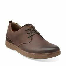 CLARKS SALTON FLY MEN'S OXFORD BROWN LEATHER CASUAL SHOES STYLE # 26102567