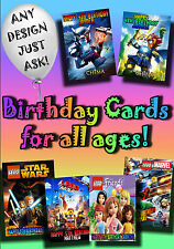 PERSONALISED birthday card. Large A5 size 100s of designs inclu disney greetings