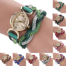 Women's Chic Popular Two Tone Rhinestone Wrap Faux Suede Bracelet Wrist Watch