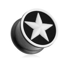 """PAIR Black-White Star Flexible Silicone Double Flared Ear Plugs 2g-5/8"""" (PXSD05)"""