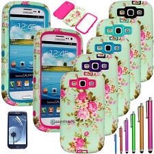 Heavy Duty Hybrid Flowers Camo Hard Case Cover For Samsung Galaxy S3 S III i9300