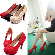HOT Gorgeous Lace Splicing Wedding Bridal Evening Party High Heels Womens Shoes